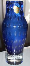 Kristallglasvase Joska Bodenmais Vase Mundgeblasen blau Lufteinschlüsse