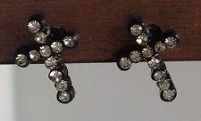 boucles d'oreilles clou puce croix noir avec cristaux diamant brillance 427