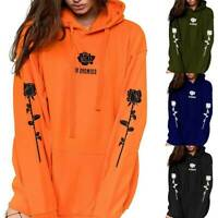 Womens Printed Pullover Ladies Hooded Sweatshirt Blouse Long Sleeve Hoodies Tops