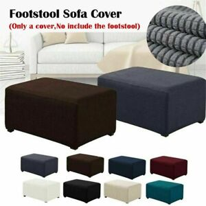 Stretch Ottoman Cover Footstool Slip Covers Square Pouf Slipcover Rectangle