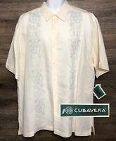NWT Cubavera Men's Cream Short Sleeve Button Front Shirt Embroidered Decor XL