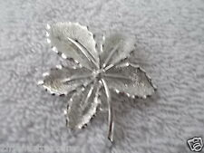 Pin Silver Plate 2 Inches Vintage Leaf Maple Leaf Brooch