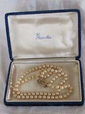 Vintage MARVELLA PEARL Necklace & Jewelry Presentation Gift Box Blue Velvet