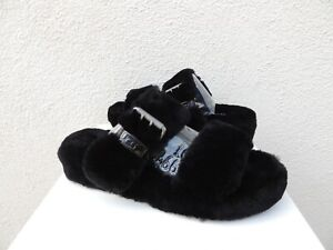 UGG BLACK FUZZ YEAH SLIDE SHEEPSKIN SLIPPER SANDALS, WOMEN US 6/ EUR 37 ~NIB