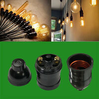 6x Black E27 Minimalist Socket Pendant Period Vintage Light Bulb Holder ES Lamp