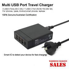 High Power 72W 4USB Multi Port AU Plug  AC Power Travel Home Charger Station