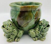 3 Frogs Vintage Ceramic Stoneware Three Frog Green Planter Frog Figures