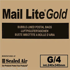 20 x Large Mail Lite Sealed Air ~ Gold Padded Envelopes ~ 9.5ins x 13ins G/4