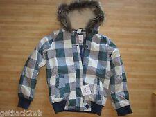 NEW* Billabong GIRLS 12 Winter Jacket Hoody Coat  Faux Fur Green Blue Plaid