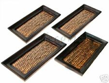 Set of 4 Oriental Vintage Bamboo Wooden Serving Trays Small New !