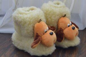 Kids Sheepskin Wool Non-Skid Slippers Ukranian Chuni Valenki Puppies Size 6-9