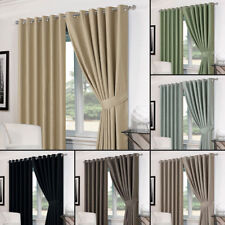 Basket Weave Pair Thermal Curtains Ready Made Eyelet/Pencil Pleat FREE Tiebacks