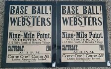 (2) 1900 Webster, New York Baseball Advertisement Broadside Vintage Sign/Poster