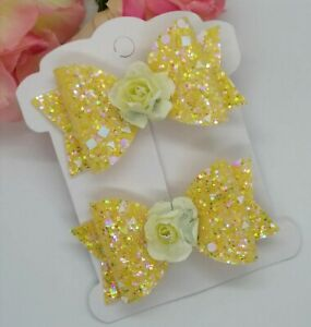 Yellow Sparkling GLITTER HAIR clips BOWS GIRLS HAIR CLIPS GLITTER Hair Bows