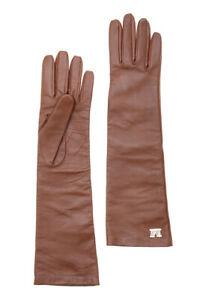MAX MARA, Afide 100% LEATHER Gloves in Beige , Size 8 (L)