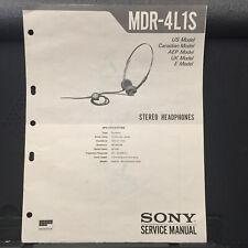 Sony Service Manual for the MDR-4L1S Walkman Headphones ~ Original Manual