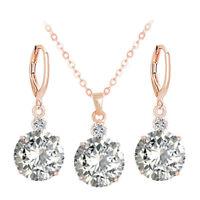 Elegant Women Rose Gold Earrings Necklace CZ Zircon Crystal Wedding Jewelry Set