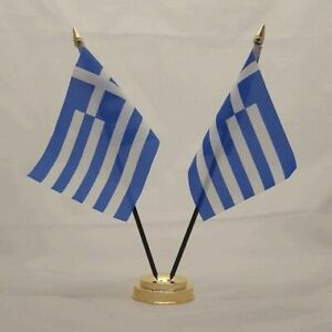 Greece Greek Deluxe Double Table Flag Plastic Polyester Gold Base 27cm Tall