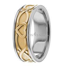 10K GOLD CELTIC HEART WEDDING BANDS RINGS MENS WOMENS HEART WEDDING BAND RING