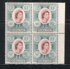 CYPRUS QEII 1955 £1 SG#187 MARGINAL BLOCK OF 4 SUPERB MNH