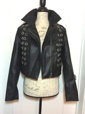 Forever 21 Jacket Womens M Medium Faux Leather Rocker Festival Bomber A318