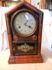 Vintage Wm. L. Gilbert Mantel Clock, Walnut Color Deer on Front Glass