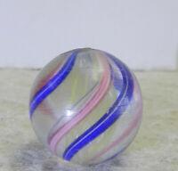 #12801m Vintage German Handmade Yellow Latticino Swirl Marble .69 Inches