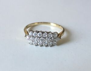14ct GOLD CLUSTER RING 585 LADIES ENGAGEMENT RING SIZE Q