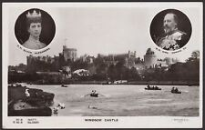 King Edward VII & Queen Alexandra - Windsor Castle from The River - RP Postcard