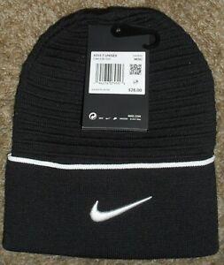 Nike Cuffed Beanie Stocking Hat CW6328-010 Dri-Fit Training - Black/White