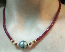 33ct faceted Ruby black gray 12mm Tahitian pearl solid 14k bali bead Necklace