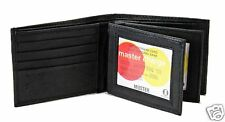 New Mens Bifold Leather Wallet Secure Multi Pockets Black 2 id Card Case Zipper