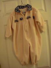 Baby Girls London Fog Warm One Piece Pink w/Leopard Print Trim Zip Coat Sz 18 Mo