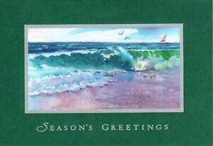 Holiday Merry Christmas Beach Waves Sailboat Sailing Hallmark Cards - Set of 16