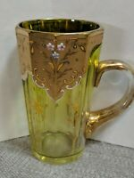 Antique Moser Decagon Glass With Handle - Hand-painted Enamel Gold Gilt