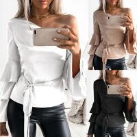 New Fashion Women Off Shoulder Long Lotus Sleeve Shirt Ladies Loose Tops Blouse