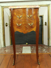 Antique French Louis XV Style Inlaid Marquetry Rosewood Marble Top Nightstand