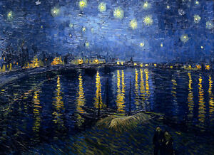"""VINCENT VAN GOGH - Starry Night over the Rhone -  Canvas Art Print - 36x24"""" Size"""