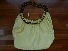 Big Buddha Yellow Handbag Bag Purse Cotton Hobo Wood Wooden Beads Light XL Large