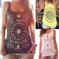 Womens Floral Boho Hippie Tank Tops Summer Vest Sleeveless T-shirt Loose Blouse