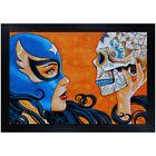Mascara de la Muerte by Mike Bell Lady Wrestler Luche Libre Framed Art Print