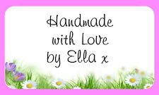 65 PERSONALISED MINI STICKERS DELICATE FLORAL BACKGROUND  (ML25)