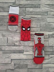 Boys Primark Marvel Comics Spider-Man 3 Pairs Trainer Socks Age 11+