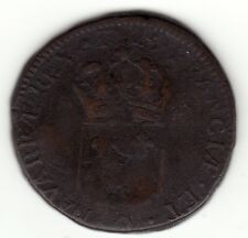 Rare 1725 Q French Colonial Perpignan Copper Sol, variety ''Hat before date''