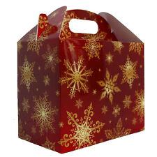 10 x RED GOLD SNOWFLAKES CHRISTMAS GABLE GIFT BOXES - XMAS Gift Hamper Box