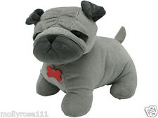 IN STOCK! Shabby French Provincial Grey Fabric Cute Dog Pug Door Stop Stopper