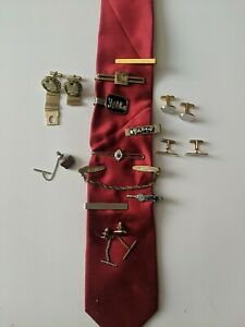 Vintage Lot Of Tie Clips, Tie Tacks, And Cufflinks, swank, high fashion