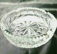 "Crystal Glass 4 Cigarette Holder Ashtray 6"" Diameter  1 1/2"" Tall Heavy Duty"