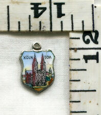 VINTAGE STERLING BRACELET CHARM~.800~ENAMELED TRAVEL SHIELD~KOLN DOM~$14.99!!