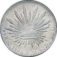 Mexico 8 Reales Mo 1896 A.M. Mexico City Mint, KM# 377.10